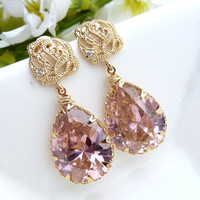 Light Rose Pink Large Peardrop CZ with Gold Plated Rose Flower CZ Post Earrings