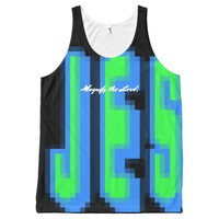 Magnify JESUS Wraparound - blue & green All-Over-Print Tank Top