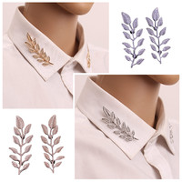 2016  New Arrival Exquisite Fashion Leaf Collar Pin Brooches For Women Alloy Brooch Pins 2 Colors Broche Dropshipping