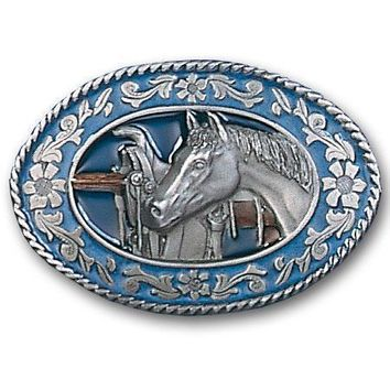 Sports Accessories - Horse head and Saddle Enameled Belt Buckle
