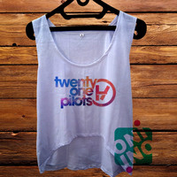 Twenty One Pilots Logo on Galaxy crop tank Women's Cropped Tank Top