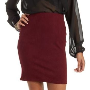 Burgundy Ribbed Bodycon Pencil Skirt by Charlotte Russe