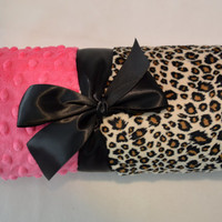 Personalized Baby Blanket - Minky Leopard Print and Hot Pink -  Monogram - Baby Gift Cheetah