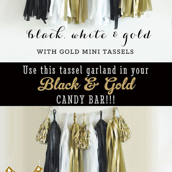 Black and Gold Decor - Black and Gold Garland - Black and Gold Decorations - Black and Gold Tassel Garland - DIY Tassel Garland KIT (EB3086)