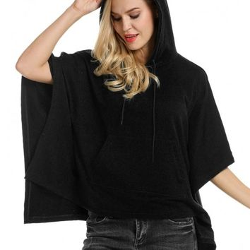 Black Women Hooded Pullover Casual Batwing Poncho Cape Hoodie Sweatshirt