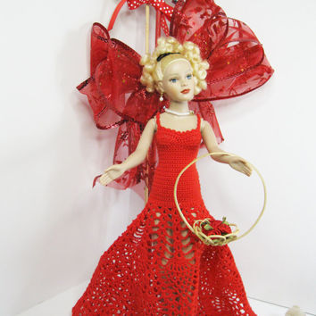 Kitty Collier Robert Tonner Doll Clothes Outfit only.  Handmade Red Pineapple Design Crochet dress for Valentine's Day or Christmas