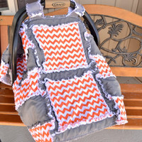 CAR SEAT COVER, Custom Chevron, Rag Quilt, Baby Blanket Orange, Gray, Made To Order, Other Colors Available
