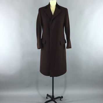 Vintage 1910s Men's Chesterfield Coat / 1920s Coat / 20s Winter Wool Coat / Dark Brown Overcoat Trench / Vintage Menswear / Beekay St. Louis