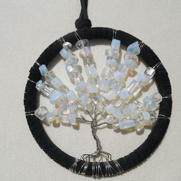 Moonstone tree of life hanging decoration