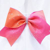 Cheer bow -  Neon pink and orange with sequins and rhinestone center.  cheerleader bow - dance bow -cheerleading bow