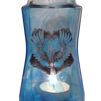 Hand painted Harry Potter candle holder, Ravenclaw House, Hand made....ONE OF A KIND