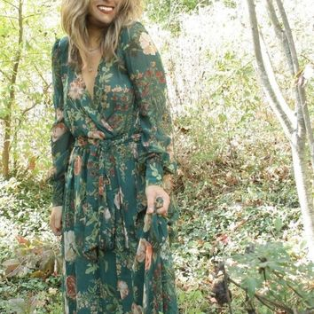"""Romance"" Forest Floral Wrap Maxi Dress - S-3X"