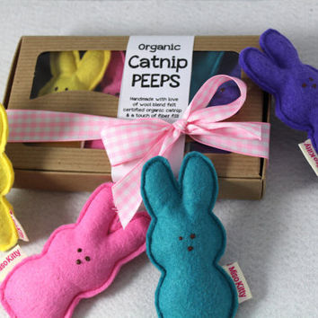 Catnip Peeps Wool Felt Easter Cat Toys