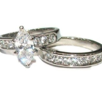 2.25 ct Marquise Cut Cubic Zirconia Solitarie Wedding Ring Set Stainless Steel