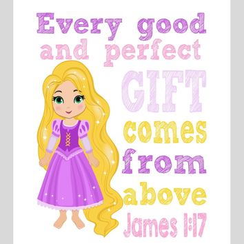 Rapunzel Christian Princess Nursery Decor Wall Art Print - Every Good and Perfect Gift Comes From Above - James 1:17 Bible Verse - Multiple Sizes