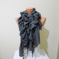 Ruffle Pashmina scarf,Ruffle scarf,ruffle pashmina scarf in Dark gray, Gray scarf,Ruffled scarf Frilly scarf Women scarfs Bridesmaid Gifts