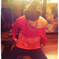 Studded Dip Dyed Ombré Red and Orange Off Shoulder Sweatshirt Sz. Medium