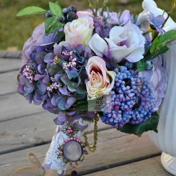 Vintage Rustic Handmade Lavender Silk Flowers Bridal Wedding Bouquet