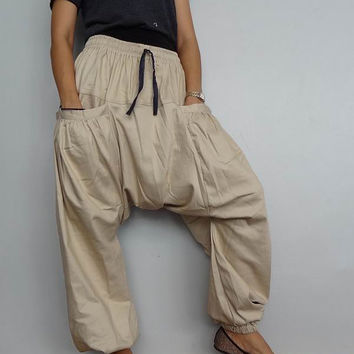 Drop crotch Casual Harem pant,Unisex Baggy Trouser,Beige Medium Weight Denim Cotton (pants-18).