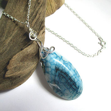 Blue Agate Necklace, Dragon Vein Agate Pendant, Silver Wire Wrap, Natural Stone Necklace, Sterling Silver, Blue Stone Jewelry