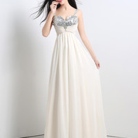 White Sequin and Rhinestone Patch Sweetheart Neckline Maxi Dress