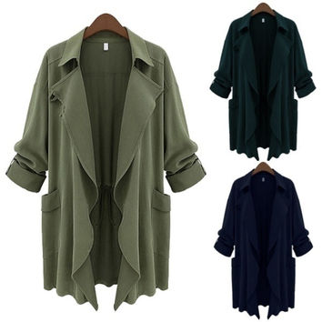 Large Plus Sizes New Fashion 2014 Winter Women Brand Long Sleeve Open Stitch Cardigan Slim Trench Coat 3 Color = 1920303620