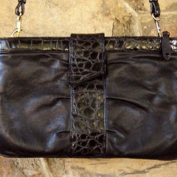 Crossbody Clutch Bag black leather shoulder bag long strap purse high fashion hipster ruched envelope moc croc vintage 80s 90s