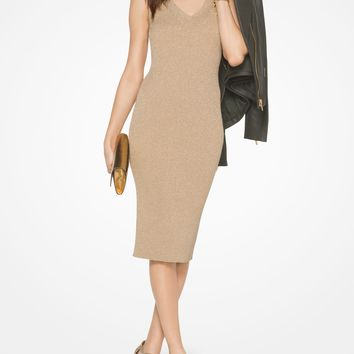 Ribbed Metallic Stretch-Viscose Dress | Michael Kors