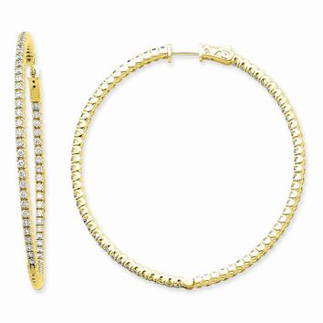 14k Yellow Gold Diamond Round Hoop W/safety Clasp Earrings