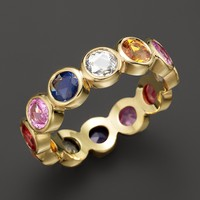 Temple St. Clair 18K Yellow Gold Eternity Ring with Rose Cut Mixed Sapphires