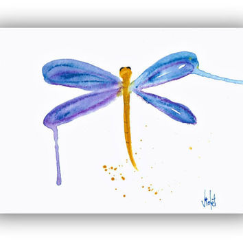 Dragonfly Art Small Original Painting blue Watercolor Art by Violet