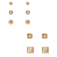 FOREVER 21 Embellished Geo Stud Set Gold/Clear One