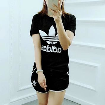 """Adidas"" Women Casual Fashion Letter Logo Print Short Sleeve Multicolor Shorts Set Two-Piece Sportswear"