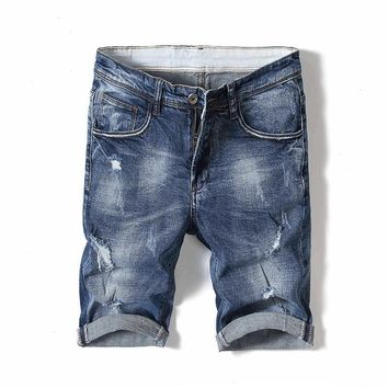 Ripped Holes Denim Summer Korean Slim Shorts [3501327417437]