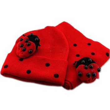 FS Hot Red Baby Boy Girl Toddler Winter Ladybird Ladybug Hat and Scarf Set