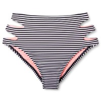 Women's Striped High Waist Bikini Bottom Pink/ Black - Heart and Harmony