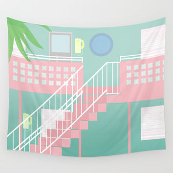 Motel Paradise Wall Tapestry by Claudia Duarte
