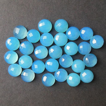 Blue chalcedony cabochon - Gemstone cabochon - Chalcedony cabochon - 2 pieces -  Round faceted cab