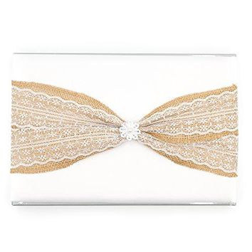 Wedding Guest Book and Pen Set (White Burlap, With Pen)