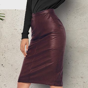 High Waist Faux Leather Vintage Pencil Skirt