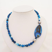 Blue Agate Necklace, Agate Pendant, Statement Agate Necklace, Blue Gemstone Necklace