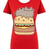 Hey Chickadee - Pusheen Cheeseburger T-shirt (womens)