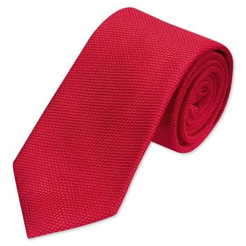 Woven plain red tie | Men's woven silk ties from Charles Tyrwhitt | CTShirts.com