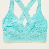 Aerie Lace Cross-Back Bralette , White | Aerie for American Eagle