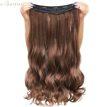 SNOILITE Lady Synthetic Curly Long Clip in Hair Extensions Half Full Head One Piece Hairpiece Black Brown Blonde