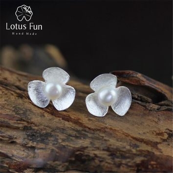 Lotus Fun Real 925 Sterling Silver Natural Pearl Handmade Fine Jewelry Cute Fresh Clover Flower Stud Earrings for Women Brincos
