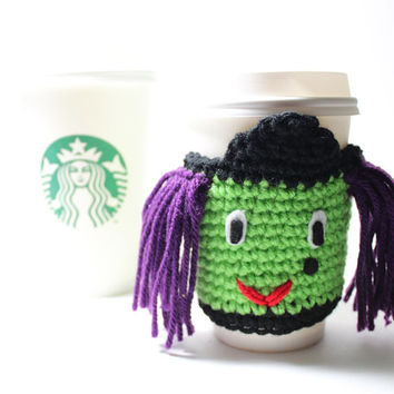 Witch Coffee Cozy/ Halloween Witch Cup Sleeve/ Elphaba crochet can cozy