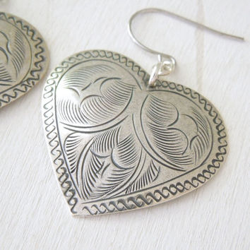 Leafy Tin Heart Hook Earrings - Antiqued Silver Tin Leaf Heart Pendant Earrings Silver Fish Hook Ear Wires