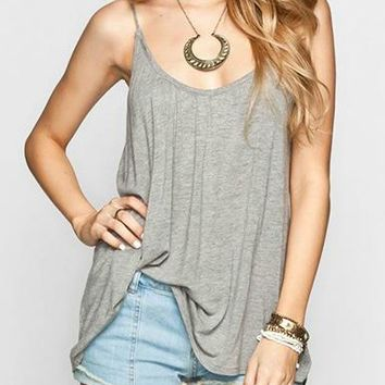 Womens Tank Top - Grey / Trapeze Back Split