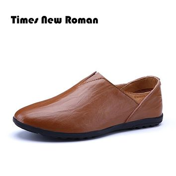 Leather Soft for Men shoes Slip On Moccasins Boat Flats Shoes